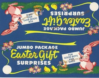 Vintage Easter Paper Labels 1950s-60s Bunnies Eggs Chicks
