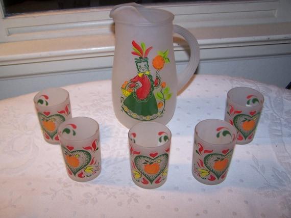 Vintage 1950s Mid Century Hazel Atlas Gay Fad Juice Set Pitcher and Glasses 6 Piece Set