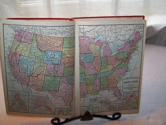 Antique 1911 World Atlas Book, Maps
