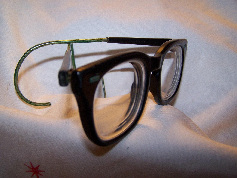 s vintage eyeglasses black plastic frame cable temples