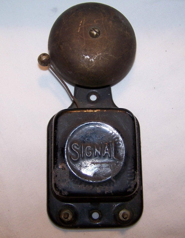 Vintage Cast Iron And Metal Door Bell Doorbell Signal