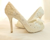 Lacy Wedding Shoes .. Ivory or White Lace Shoes .. Bridal High Heels... Crystal and Pearl Adornments .. Free Postage within the USA