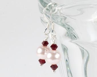 Pink Pearl and Red Swarovski Crystal Earrings