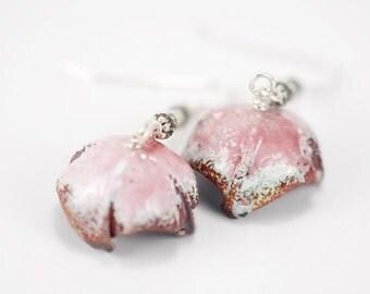 Handmade Pink Enamel Earrings