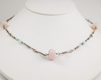 Handmade Sterling Chain with Pink and Blue Andean Opal