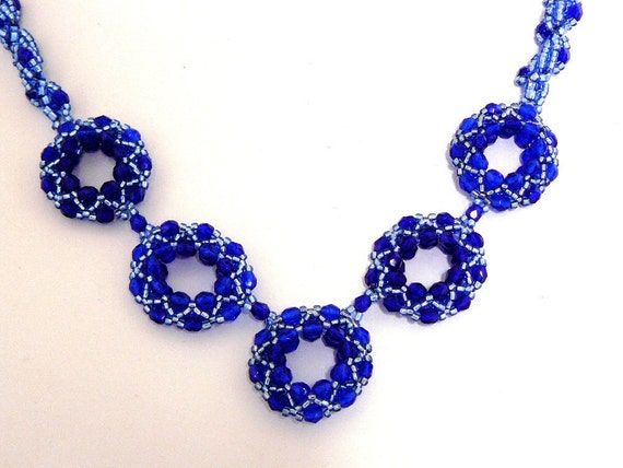 Statement Necklace Blue Beadwork Necklace Dark Blue Beaded Jewelry Dramatic Evening Wear Bead Woven Circles Hoops