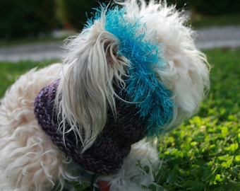 Ready To Ship- 10 inch neck and head- Fun Turquoise Fur Cowl For Pups