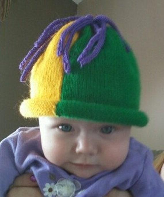 Mardi Gras FireCracker Hand Knit Hat Sz 3 months