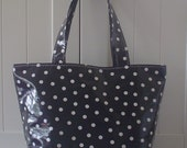 Beth's Black with White Dot Medium Oilcloth Market Tote Bag