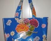 Beth's Blue Mum Oilcloth Large Market Tote Bag