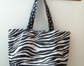 Beth's Big Zebra Oilcloth Tote Bag with Polka Dot Contrast