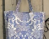 Beth's Big Blue Paradise Oilcloth Market Tote Bag