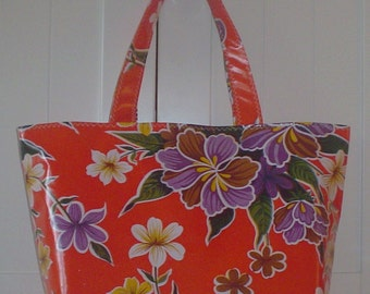 Beth's Orange Tropical Hibiscus Large Oilcloth Market Tote Bag