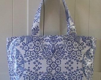 Beth's Blue Paradise Oilcloth Large Market Tote Bag