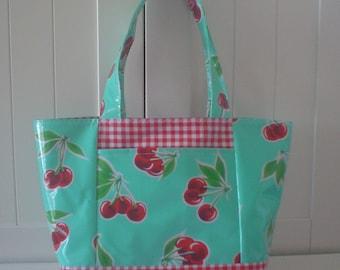 Beth's Retro Cherry Medium Oilcloth Tote with Exterior Pockets