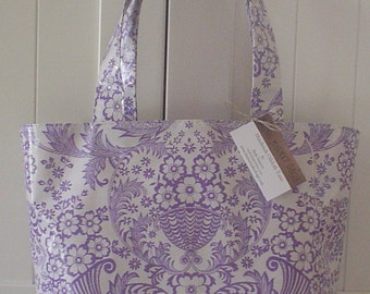 Beth's Large Lilac Paradise Oilcloth Market Tote Bag