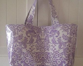 Beth's Big Lilac Paradise Oilcloth Market Tote Bag