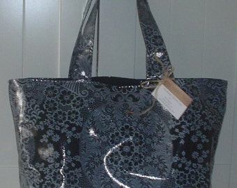 Beth's Large Gray/Black Paradise Oilcloth  Market Tote Bag