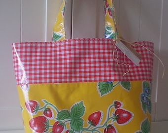 Beth's Yellow Strawberry/Red Gingham Oilcloth Grocery Tote with over the Shoulder Straps