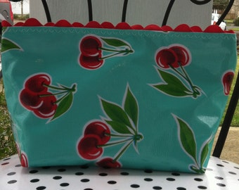 Beth's Medium Size Oilcloth Aqua Cherry Cosmetic Bag with Rick Rack and a zipper Closure