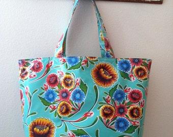 Beth's Big Aqua Bloom Oilcloth Market Tote Bag