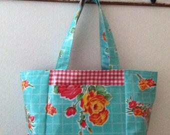 Beth's Large Aqua Vintage Rose Oilcloth Tote Bag with Exterior Pockets