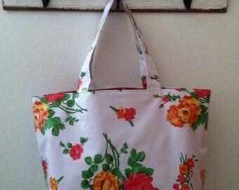 Beth's Big White Vintage Rose Oilcloth Market Tote Bag