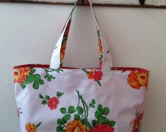 Beth's White Vintage Rose Large Oilcloth Market Tote Bag