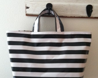 Beth's Black Stripes Oilcloth Business Tote