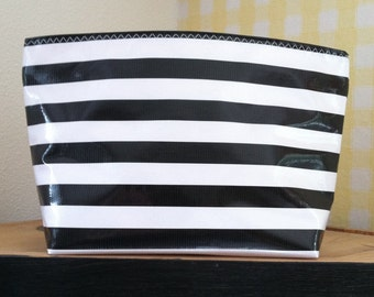 Beth's Large Black Stripes Oilcloth Cosmetic Bag