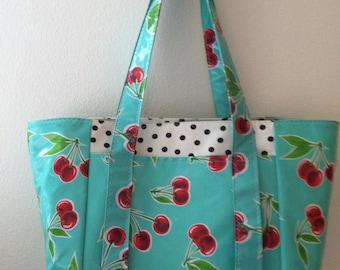 Beth's Aqua Cherries Multi Market Oilcloth Tote Bag