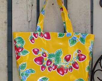 Beth's Yellow Strawberry Oilcloth Large Market Tote Bag