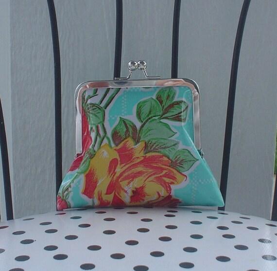 Beth's Small Aqua Vintage Rose Oilcloth Kisslock Clutch