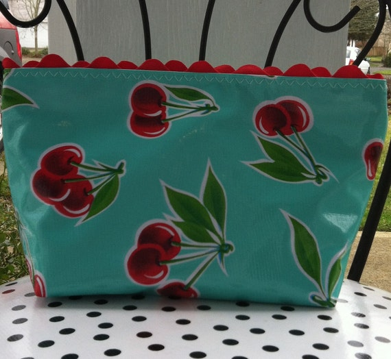 Beth's Medium Size Oilcloth Aqua Cherry Cosmetic Bag with Rick Rack and a zipper Closure