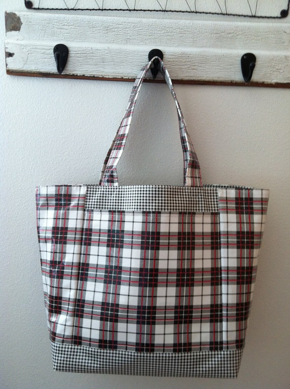 Beth's Big Glen Plaid Oilcloth Market Tote Bag with Exterior Pockets