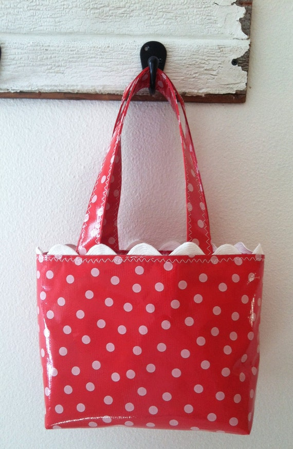 Beth's Small Red Polka Dot Oilcloth Tote bag with Rick Rack Trim