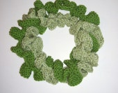 Hand Knit Ruffled Two Piece Scarf/Cowl in Two Shades of Green