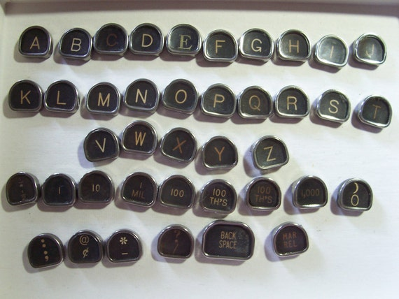 Vintage Typewriter Keys Authentic 40 pcs completely flat backs. Sale jewelry steampunk altered art assemblage clean metal glass rare