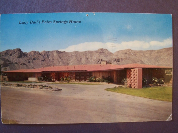 Vintage postcard 1955 lucy ball 39 s palm springs by for The lucy house palm springs