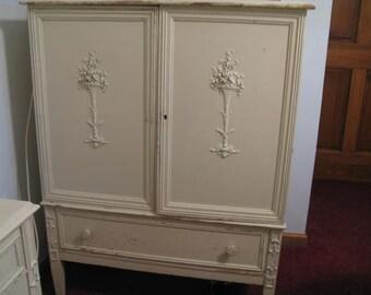 Vintage Sligh Bedroom set, white dresser, vintage white dresser, rose appliqué carvings, vintage carved roses