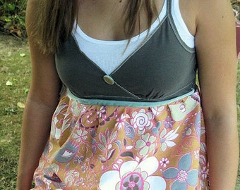Vintage Retro FAbric Cami Shirt Blouse recycled