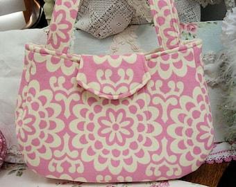 Amy  Butler tote handbag Pink damask