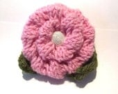 Knitted Rosette Brooch with button - Pink with green leaves
