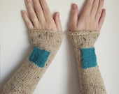 Long armwarmers, fashion wristwarmers, geometric fingerless gloves