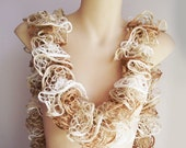 Mothers Day - Hand knit lace frilled ruffle scarf - rust and cream