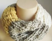 Chunky Knit Cowl - Cream, mustard yellow, pistachio - colour block, scrunch cowl - made to order