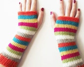 neon striped fingerless gloves knitted arm warmers, color block wrist warmers