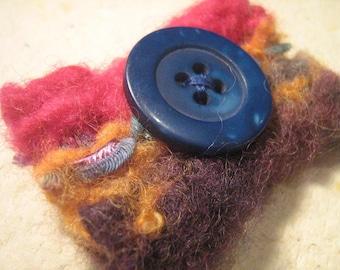 SALE - Felt Burst Brooch - Blue Button