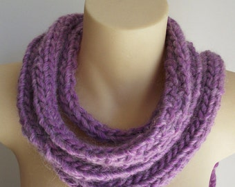Hand Knitted rope scarf with tassels, long skinny scarf - lavender