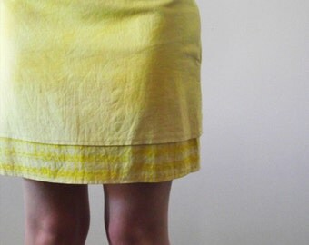 Yellow Miniskirt hand dyed screen printed